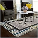 Cheap Superior Gem Border Collection Area Rug, 6mm Pile Height with Jute Backing, Affordable Contemporary Rugs, Contemporary Geometric Gemstone Design – 8′ x 10′ Rug, Black, Grey, Green, and Blue