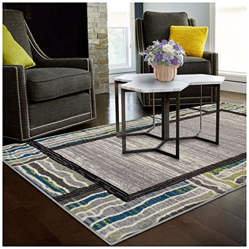 Superior Gem Border Collection Area Rug, 6mm Pile Height with Jute Backing, Affordable Contemporary Rugs, Contemporary Geometric Gemstone Design -  5' x 8' Rug, Black, Grey, Green, and Blue