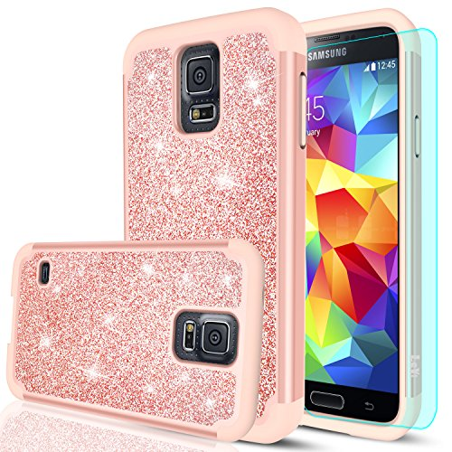 Galaxy S5 Glitter Case with HD Screen Protector,LeYi Bling Cute Girls Women Design [PC Silicone Leather] Dual Layer Heavy Duty Protective Phone Case for Samsung Galaxy S5 TP Rose Gold