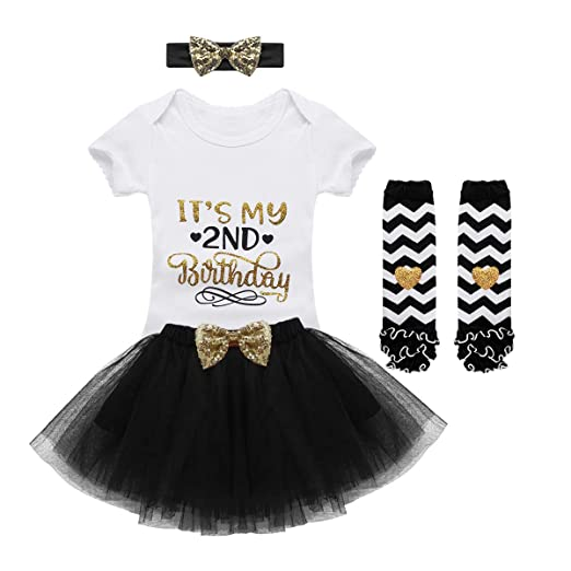 86031e96a ACSUSS Baby Girls Second 2ND Birthday Party Romper Outfits with Tutu Skirt  Leg Warmers Headband Black