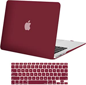 MOSISO MacBook Air 13 inch Case (Models: A1369 & A1466, Older Version 2010-2017 Release), Plastic Hard Shell Case & Keyboard Cover Skin Only Compatible with MacBook Air 13 inch, Wine Red