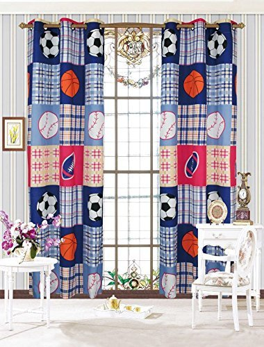 Fancy Collection 2 Panel Curtain Set with Grommet Sports Baseball Football Basketball Soccer Navy Blue Light Blue White Black Red Orange Off White New