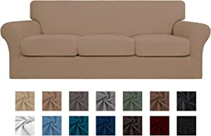 Easy-Going 4 Pieces Stretch Soft Couch Cover for Dogs - Washable Sofa Slipcover for 3 Separate Cushion Couch - Elastic Furniture Protector for Pets, Kids (Sofa, Camel)