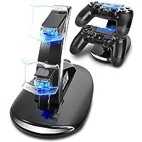 Ozvavzk Cargador Mandos PS4,con USB mandos 2 en 1 Charger Stand for  PS4 Controller a LED light Indicators