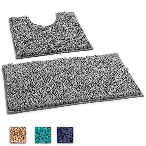 LuxUrux Bathroom Rug Mat –Extra-Soft Plush Bath Shower Bathroom Rug,1'' Chenille Microfiber Material, TPR Surface, Super Absorbent. Machine Wash & Dry (Curved Set, Light Grey) by LuxUrux