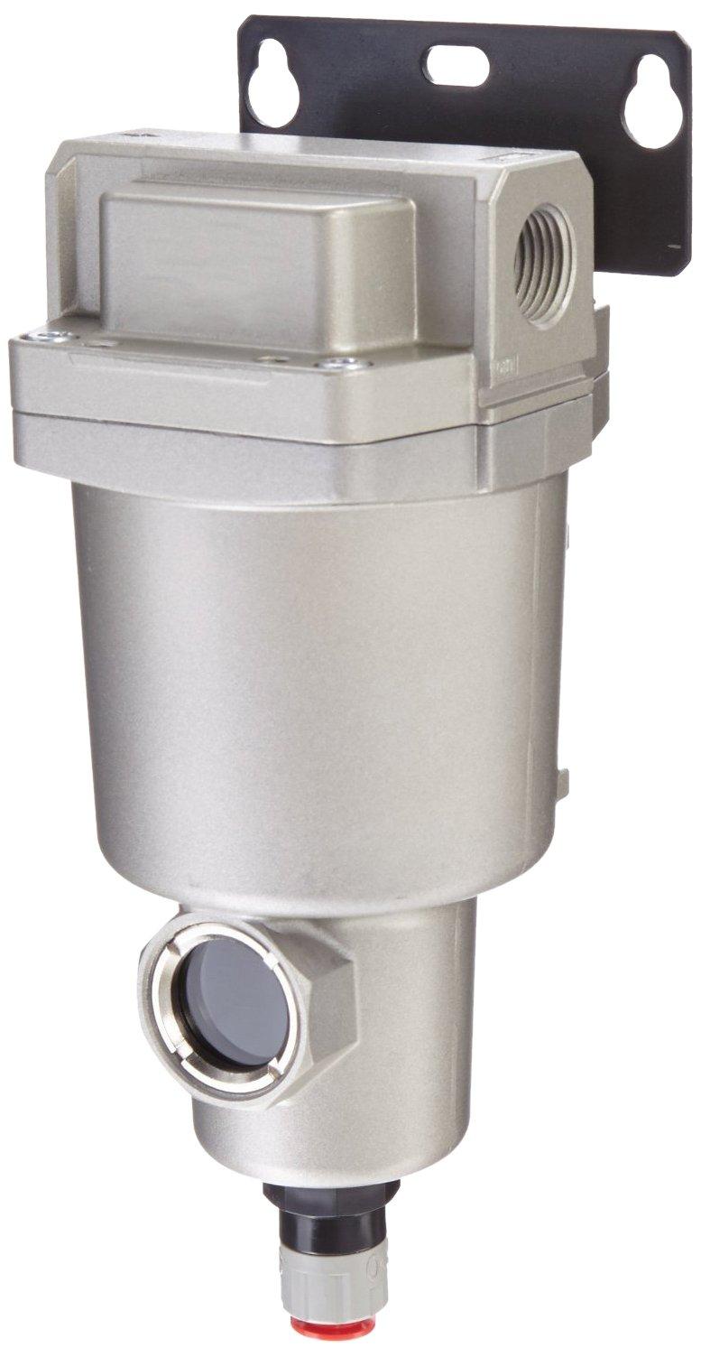 SMC AMG150C-N02BC Water Separator, N.C. Auto Drain, 300 L/min, 1/4'' NPT, Mounting Bracket