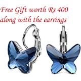 Tia Jewels Swarovski Elements Blue Metal Butterfly Hoop Earrings For Women