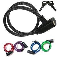 Guilty Gadgets ® Long 900mm Heavy Duty câble Spirale en Acier de vélo câble antivol de vélo Cycle de 2clés Chaîne en PVC Non Scrachable Sleve