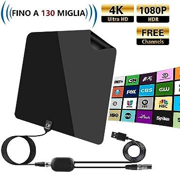 Cinati Internal TV Antena, 130 Millas de Gama Antena Digital, HDTV Antena con Amplificador de señal, Soporte 4K 1080p, Antena HDTV VHF/UHF/FM, con 5m ...