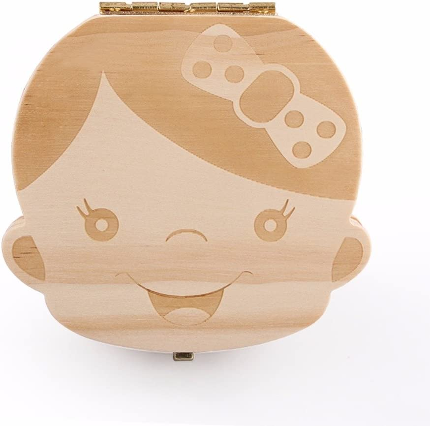 Caja de Dientes, Caja para guardar dientes para niños y niñas, Regalo para niños en madera de souvenir, Acumulación de dientes (Niña)