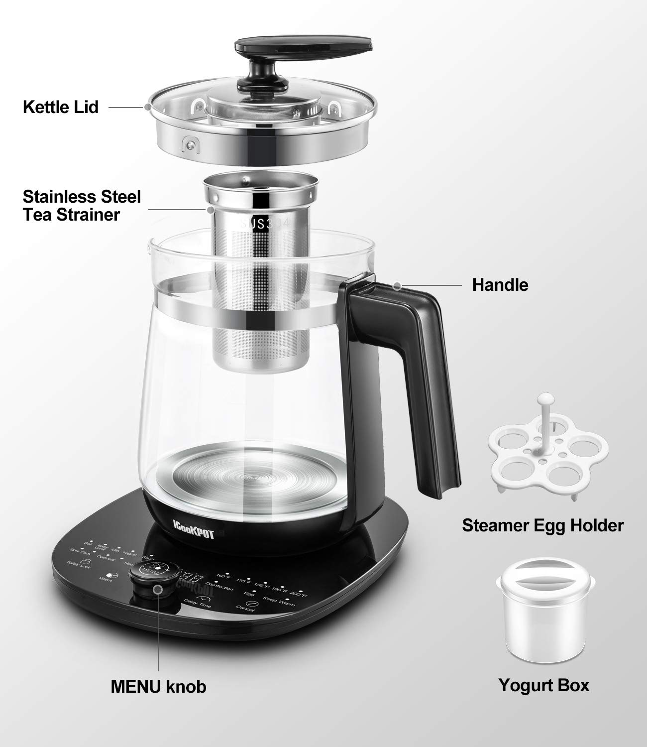 Egg Cooker and Yogurt Box Includes Filter Keep Warm Function Water Pot Kettle ICOOKPOT Multi-Use Electric Kettle Borosilicate Glass Tea Maker and Programmable Control Panel Base