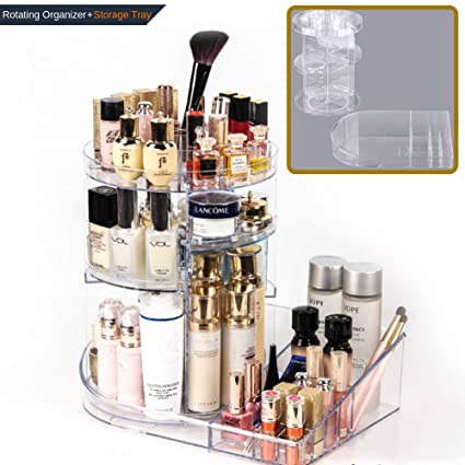 45c79cb7a13d SUNFICON 360 Degree Rotating Makeup Organizer 2 in 1 Cosmetic ...