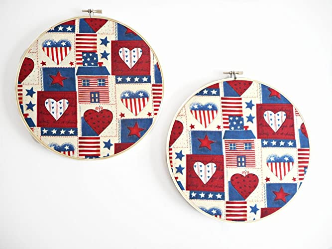 exceptional Primitive Hearts And Stars Part - 12: Americana Hearts Fabric Wall Hoop Art Primitive Patriotic Cabin Stars  Stripes Flag Red Beige Blue Decorative