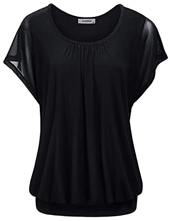 bd2ae010b88 JCZHWQU Ruffle Blouse, Women's Round Neck Short Sleeve T Shirt Chic Pleated  Front Solid Color