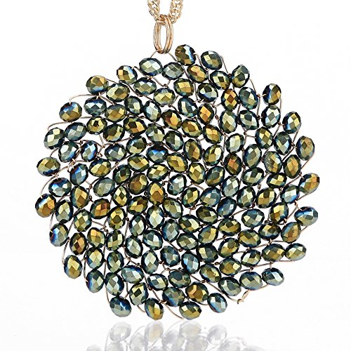 (Niumike Crystal Circle Pendant Disc Necklace for Girls, Hand-Made Beautiful Bright Long Necklaces, Box,Yellow Green)