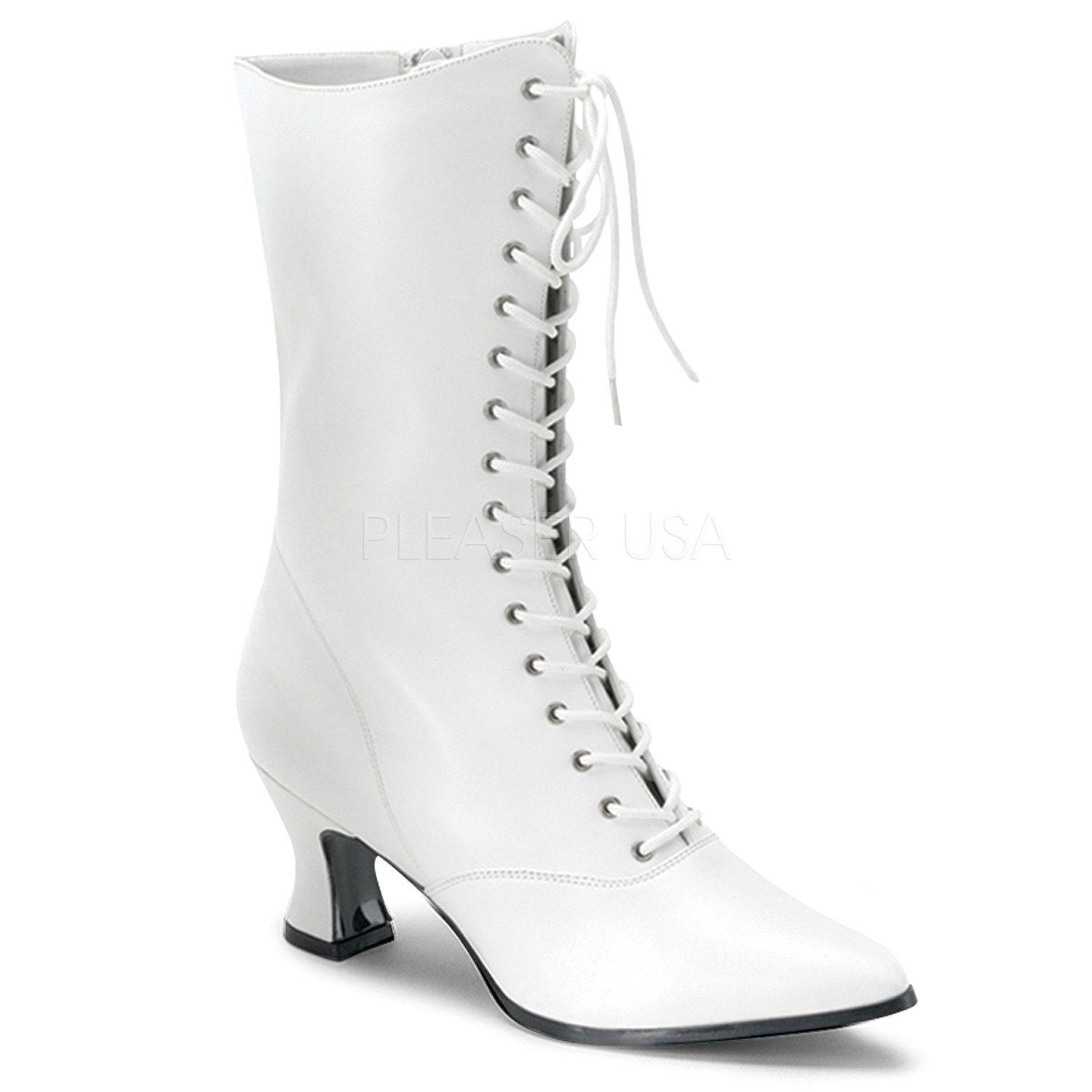 Victorian Granny Boot 2 3/4 Inch Heel w Side Zipper 120 B00NHTLK64 8 B(M) US|White