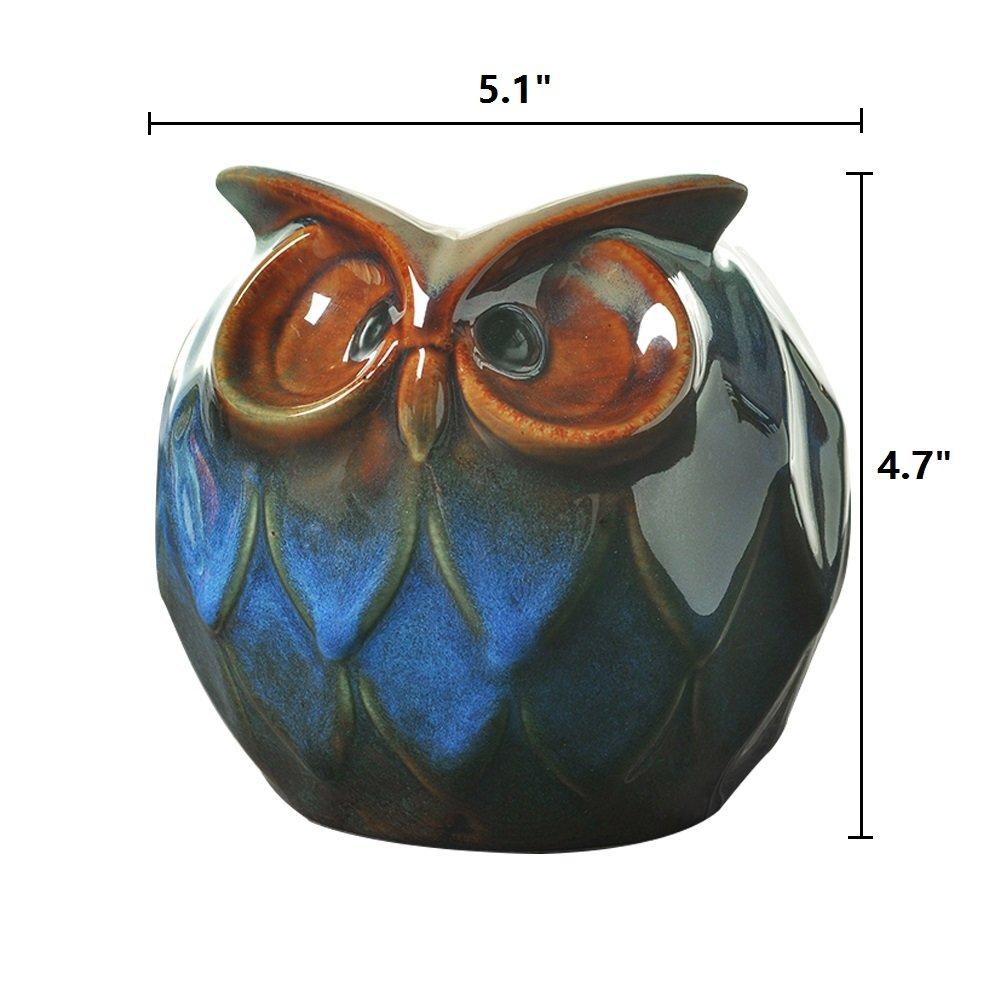 GeLive Blue Owl Ceramic Succulent Planter Animal Plant Pot Tabletop Decoration Vase Window Box Blue Large Owl