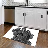 """Soft Non Slip Absorbent Bath Rugs Studio shot of swat police special forces black uniforms pointing terrorists pistol Machine Washable Large Mats Materials W30"""" x H18"""""""