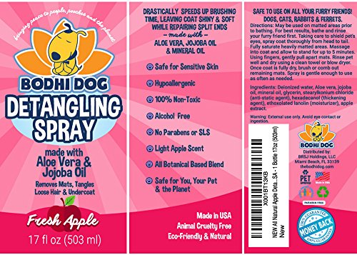 NEW All Natural Apple Detangling Spray | Remove Tangles while Dematting Dog and Cat Fur and Hair | Soothing Lotion with Conditioning Qualities - Made in USA - 1 Bottle 17oz (503ml) by Bodhi Dog (Image #3)