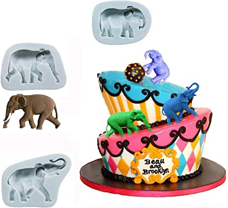 Polymer Clay Candle etc. Silicone Mold for Baby Elephant with Heart Soap or for Fondant