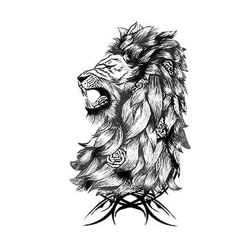 Just Fox – Tatuaje temporal, diseño de león, rosas, tatuaje ...