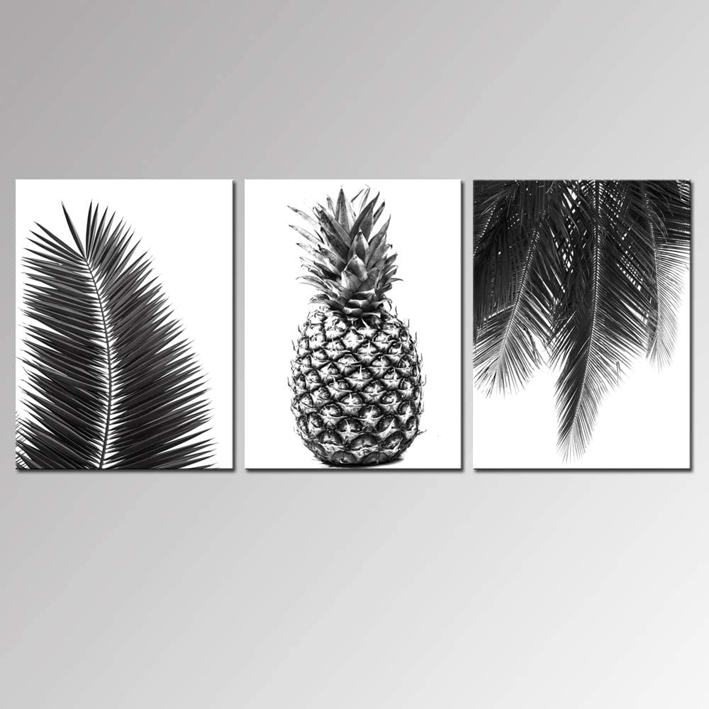 Nachic Wall - 3 Piece Black and White Canvas Wall Art Hawaii Pineapple Tropical Leaves Picture Painting on Canvas for Bedroom Bathroom Wall Decor Stretched Canvas Wrapped Ready to Hang