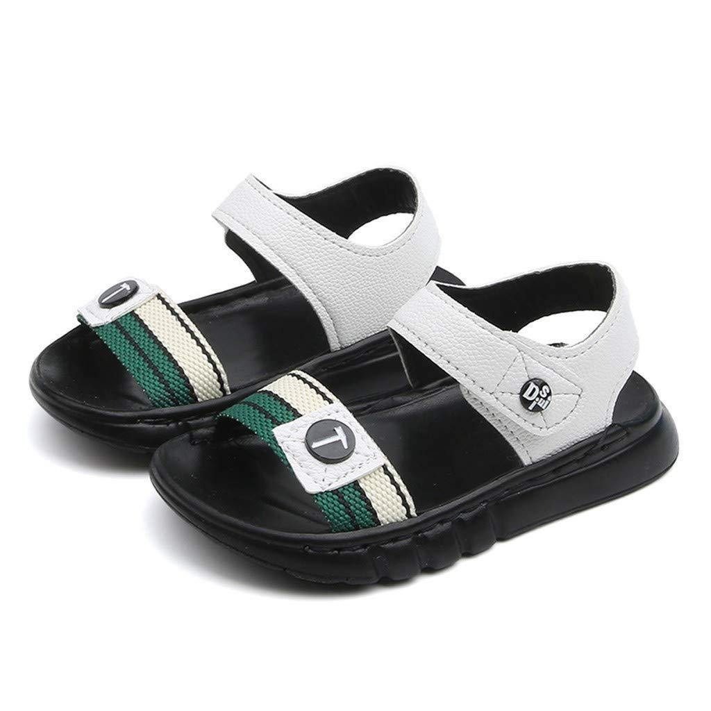 Kiminana Summer Children's Boys and Girls Letters Soft Bottom Non-Slip Beach Shoes Sandals White