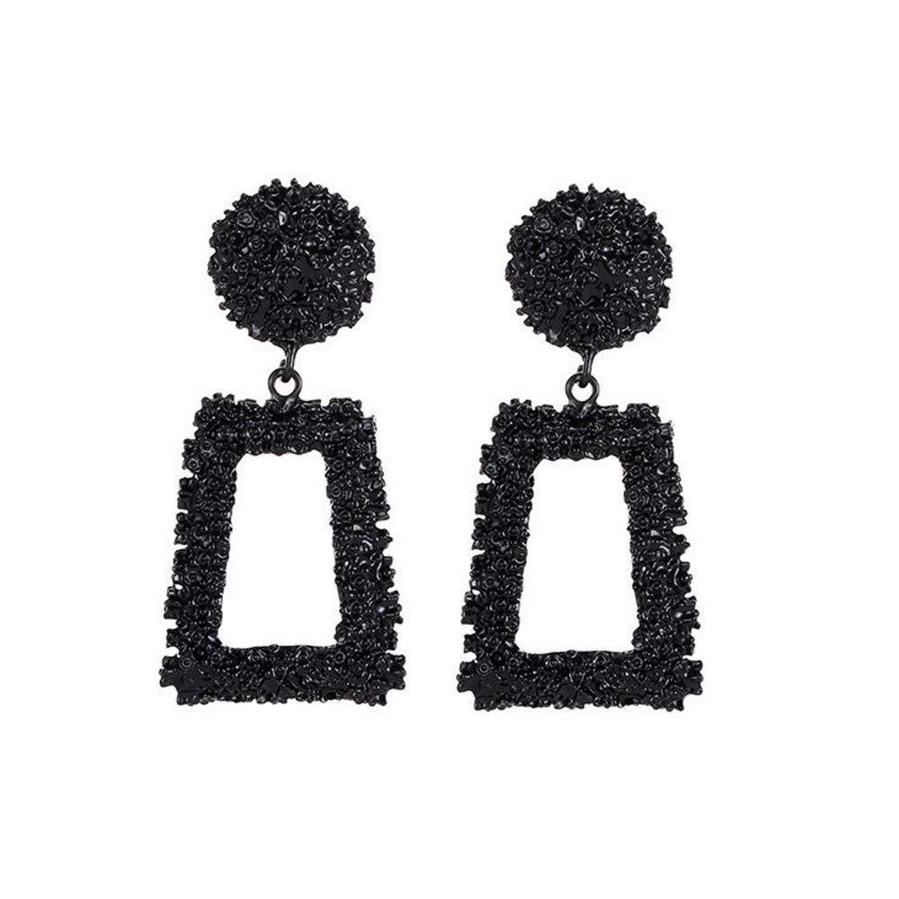 SO-buts Geometrische Ohrringe,Damen Anh/änger Ohrringe,Lange Ohrringe aus Metall,Matte Trend Trapezf/örmige Ohrringe Schwarz