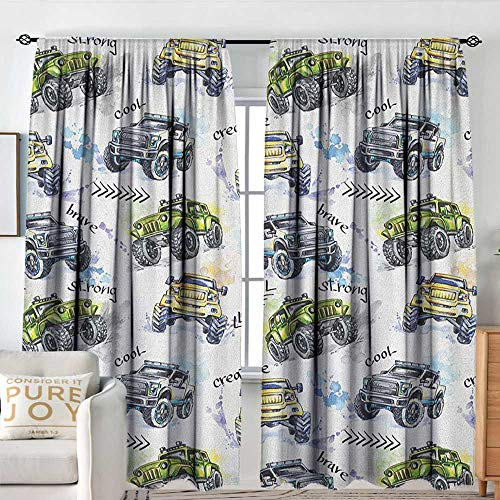 - Petpany Pattern Curtains Cars,Hand Drawn Watercolored Monster Trucks Enormous Wheels Off Road Lifestyle, Yellow Lavander Blue,All Season Thermal Insulated Solid Room Drapes 60