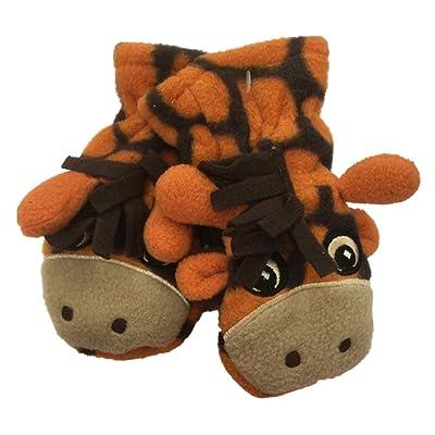 CP Infant Boys Orange Microfleece Giraffe Mittens
