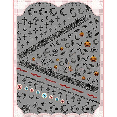 [Born Pretty 1 Sheet Halloween Nail Stickers Spider Web 3D Nail Art Stickers] (Spider Web Eye Makeup)