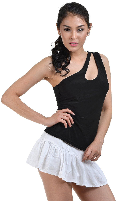 clubwearguru Womens One Shoulder Asymmetrical Clubwear Top