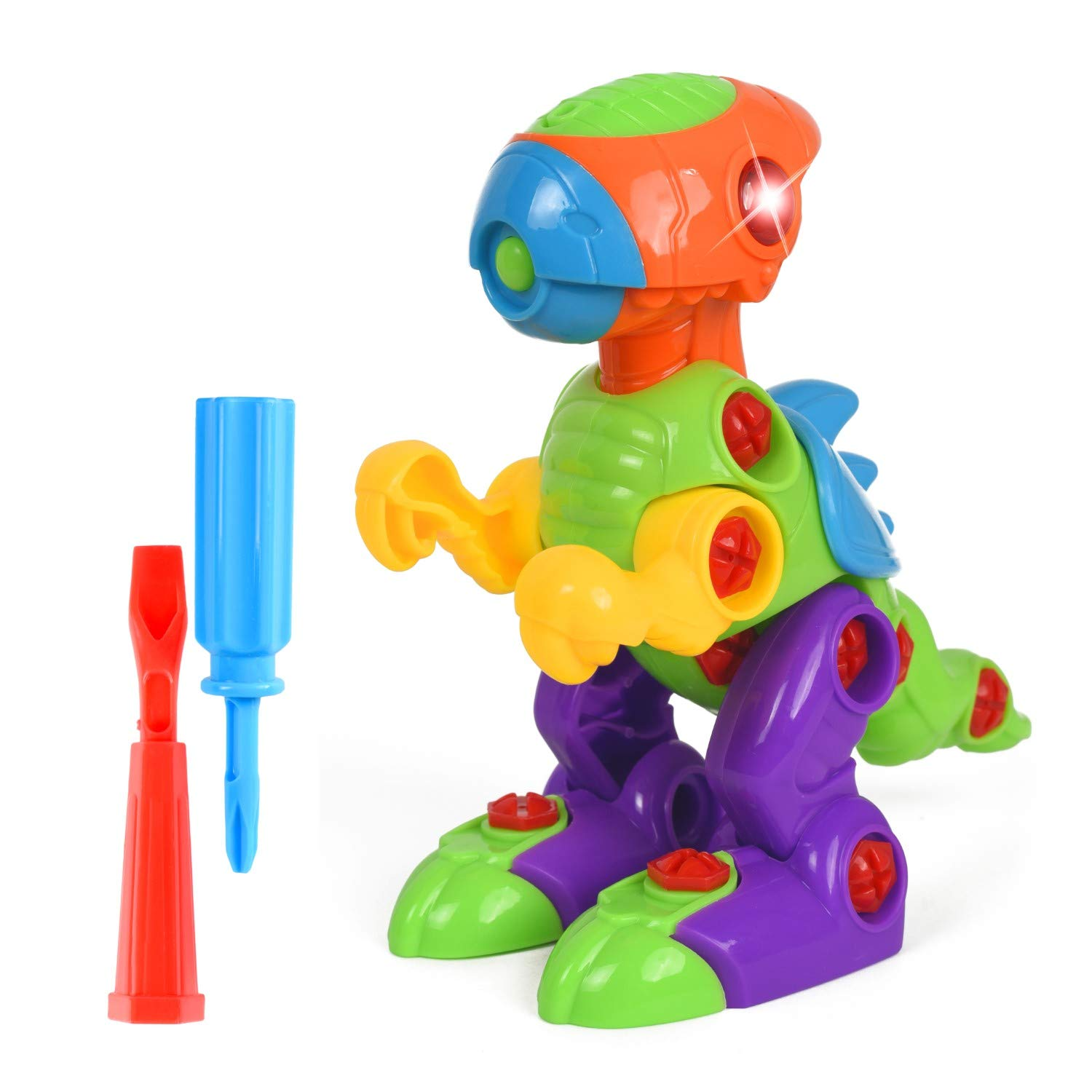 074105b5a15b WolVol 18-Piece Take-A-Part Building Dino Dinosaur - Toddler Assembly STEM  Toy - Lights & Music - Take Apart for Boys & Girls - Screwdriver Included -  ...