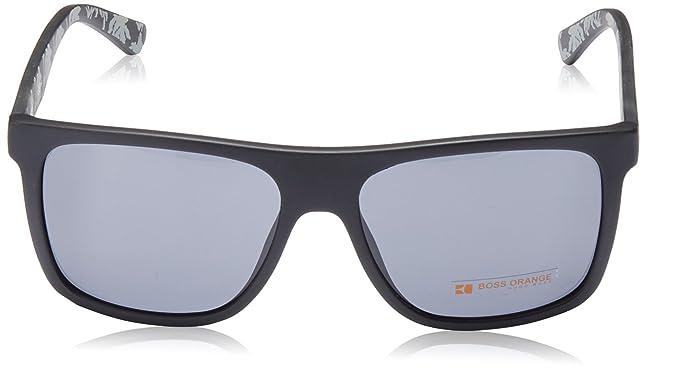 81c74f455ed Amazon.com  Boss Orange BO 0253 S Q80BN (Matt Black - Black print with  Black lenses)  Clothing