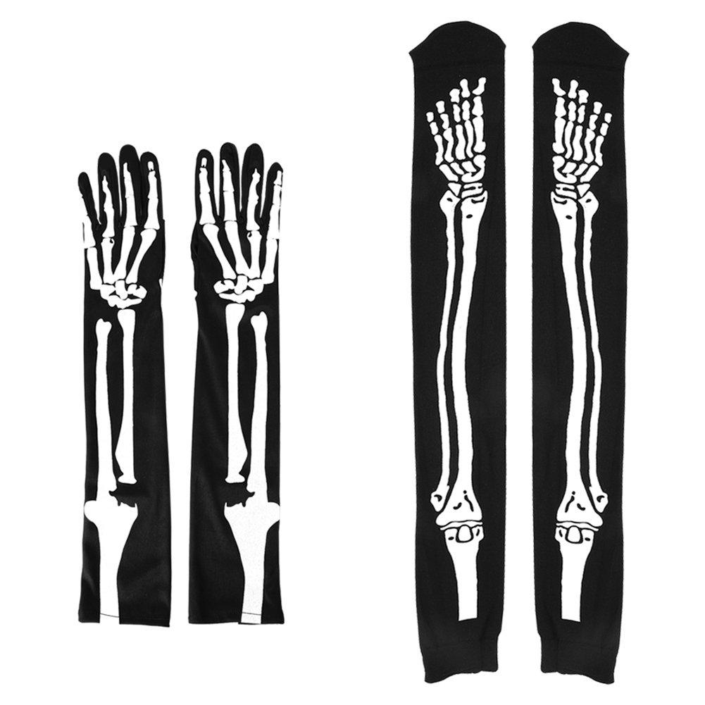 LINGJUN Skeleton Socks + Gloves-Over Knee High Sock and Full Finger Long Arm Glove for Halloween Costume Cosplay