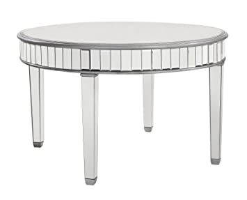 Amazoncom Beveled Mirrored Round Dining Table in Silver 48 in