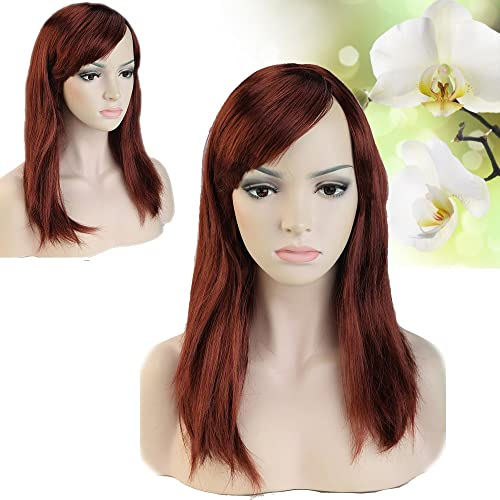 Hallowee Cosplay Must Have Long Straight Dark Brown Synthetic Wig Free Cap With Oblique Bangs Multiple Colors For Anime Costume Theme Party Or Gifts Under $10 On Sale Dark Brown