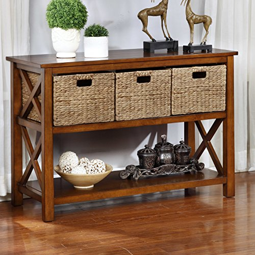 Rectangle Console Table with 3 Baskets for Hallway/Living Room Made of Wood/Wicker in Clear Varnish Finish 30'' H x 40'' W x 17'' D in. (Baskets Console With Table)