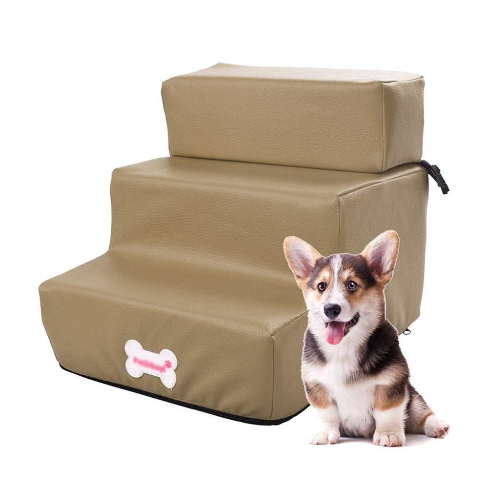 Camel Jia He Pet stairs Pet stair PU training bed step detachable three-layer pet ladder 5 colors optional @@ (color   Camel)