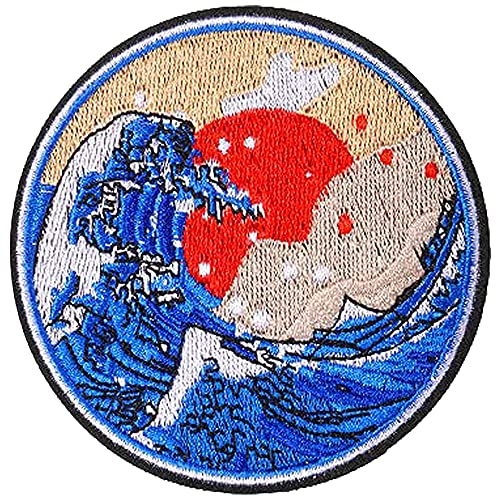 AXEN Great Wave Off Kanagawa Patches Embroidered Iron on Badge Patches, Iron On Sew On Emblem Patches DIY Accessories, Pack of 2