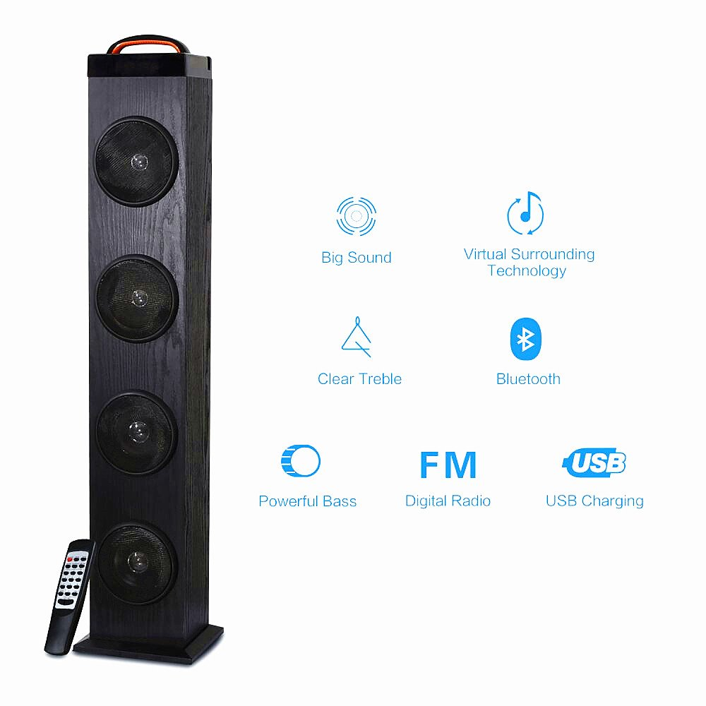 Tower Speaker, TRANSPEED Wireless Bluetooth Floorstanding Speaker with Subwoofer for TV, 2.1 Channel 65Watts Strong Bass Perfect for Rock&Sport Events Party Wood Home Theater Speaker with FM Radio