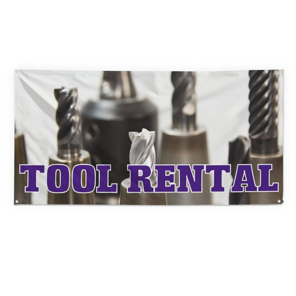 Tool Rental #2 Outdoor Fence Sign Vinyl Windproof Mesh Banner With Grommets - 2ftx3ft, 4 Grommets