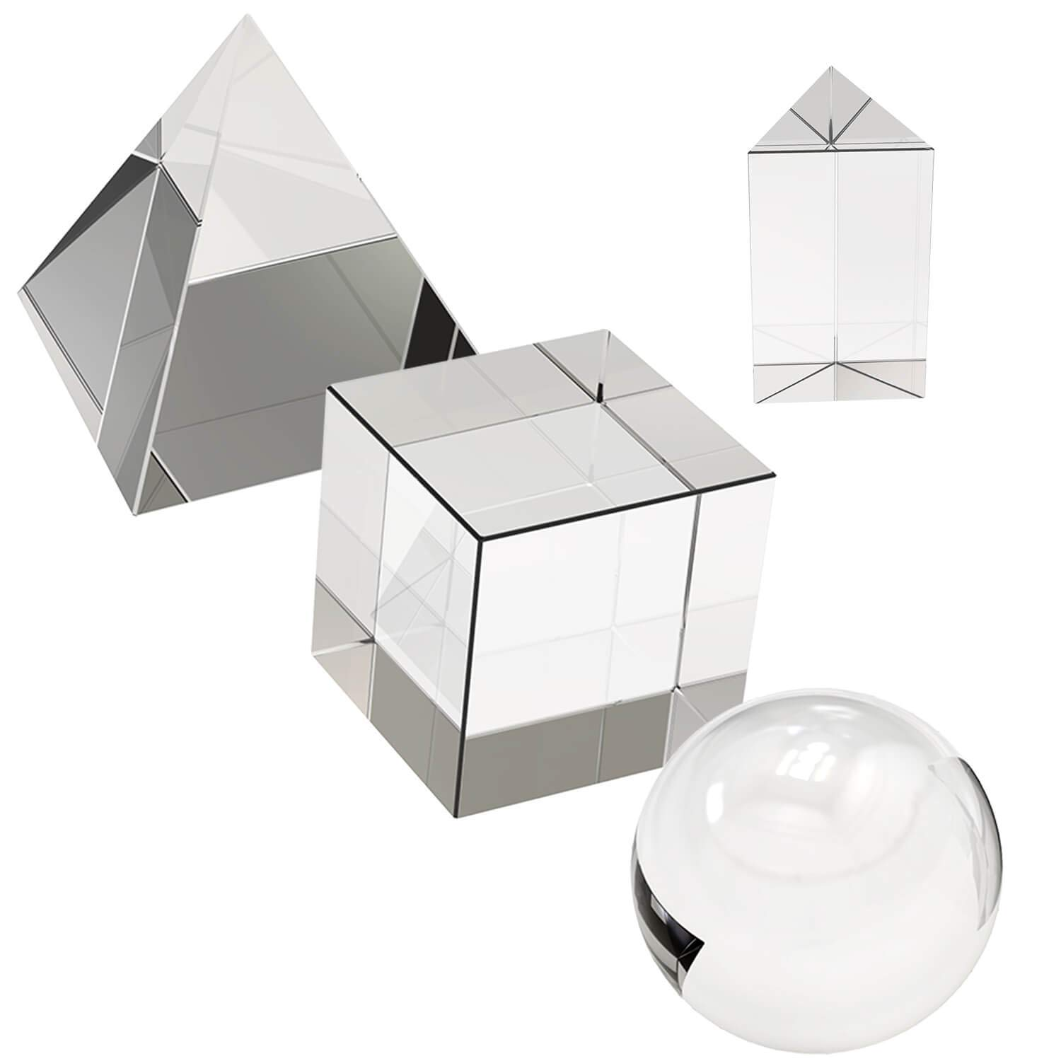 4 Pack K9 Optical Crystal Photography Prism Set, Include 50mm Crystal Ball, 50mm Crystal Cube, 50mm Triangular Prism, 60mm Optical Pyramid with Gift Box for Teaching Light, Education, Photography
