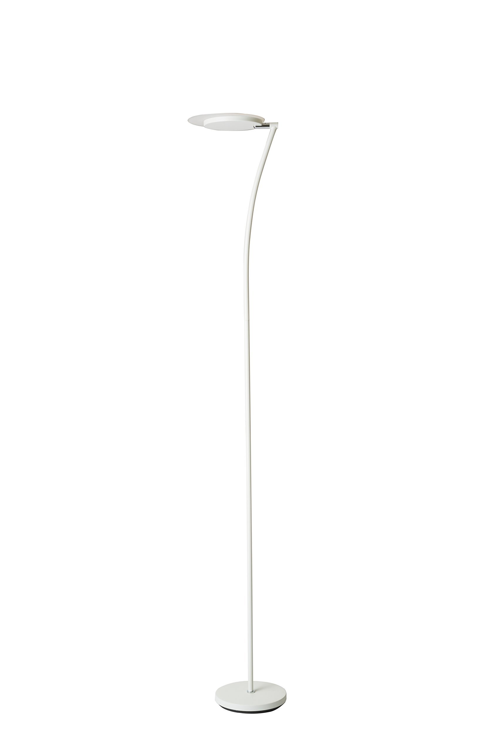 73'' Tall Adjustable Metal Torchiere Floor LED Lamp, Matte White finish