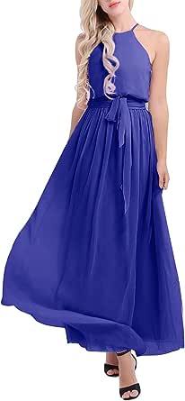 TiaoBug Women Ladies Sleeveless Halter Chiffon Bridesmaid Dress Long Evening Party Prom Gown