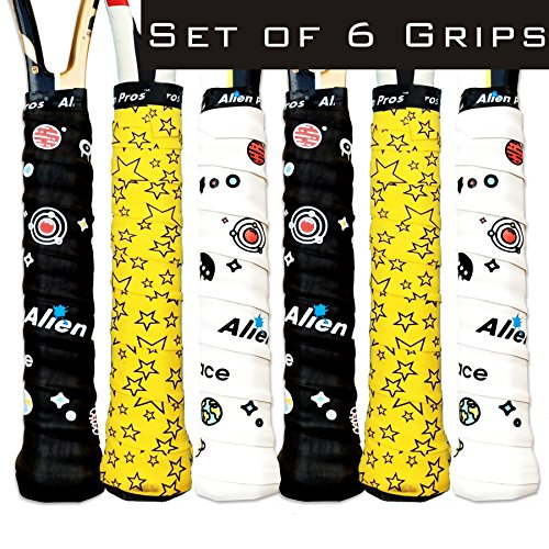 Top Alien Pros X-Dry Tennis Overgrip Tape (6-Pack) Perfect for Your Tennis Racket, Racquetball Grip, Squash Racquet and More
