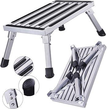 HDM 47 x 30 x 23 cm Aluminio Escalera de 1 nivel Plataforma de trabajo (carga máxima 150 kg para cocina, baño, camping y más, plegable Taburete Escalera con alfombrilla antideslizante: Amazon.es: Bricolaje y herramientas