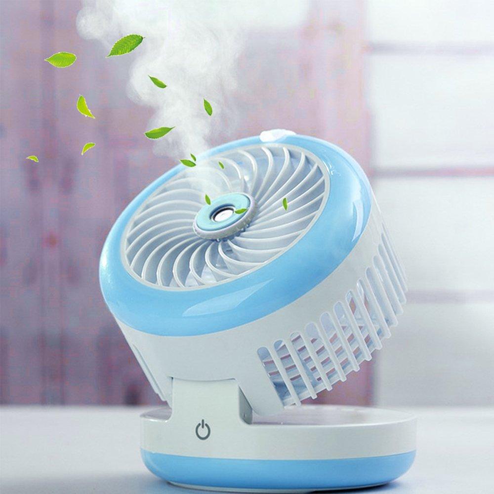 LUCKSTAR Misting Fan - USB Handheld Mini Fan Humidifier Mist Water Spray Air Conditioning Moisturizing Fan for Home Office School Travel (Blue)