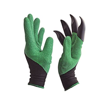 RIANZ Gardening Gloves, Garden Gloves with Right Hand Fingertips ABS Claws for Pruning, Digging & Planting, One Pair