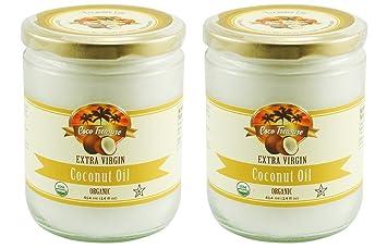 Coco Treasure Organic Extra Virgin Coconut Oil in Glass Jar 14 Fl oz -Perfect For